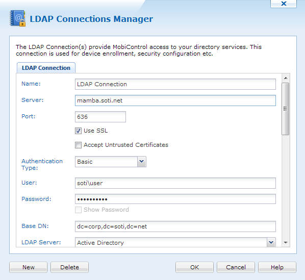 LDAP Connections Manager