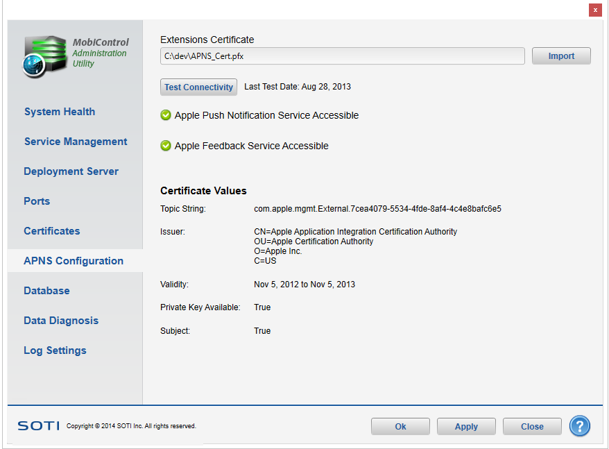 Installing the APNS Certificate