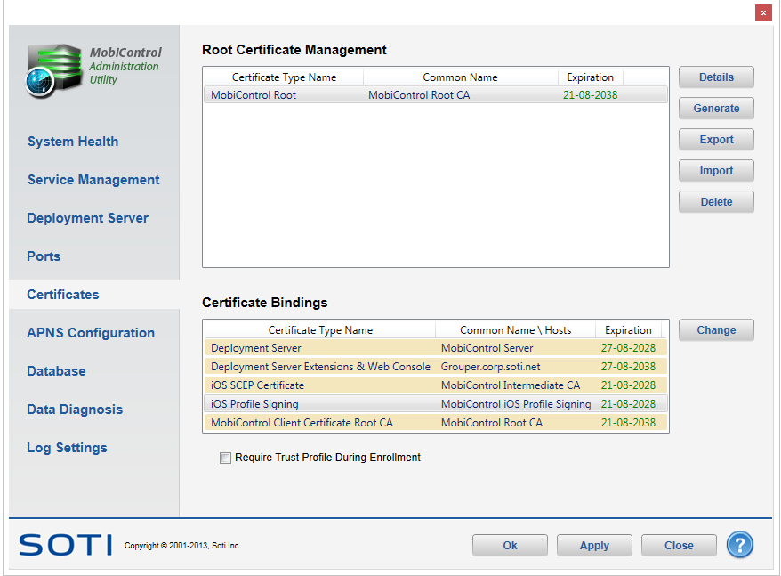 Root Certificate Management