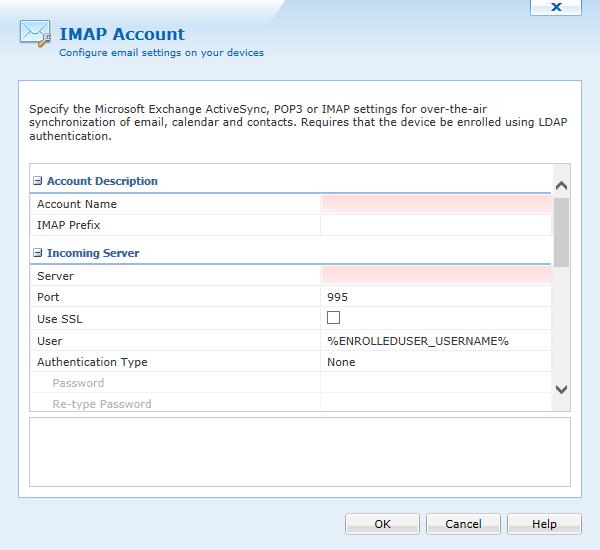 iOS IMAP Configuration