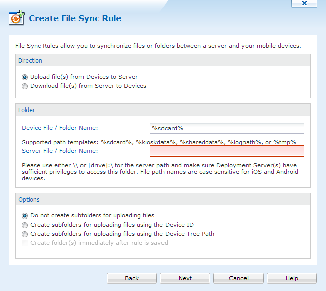Android+ Creating File Sync Rules
