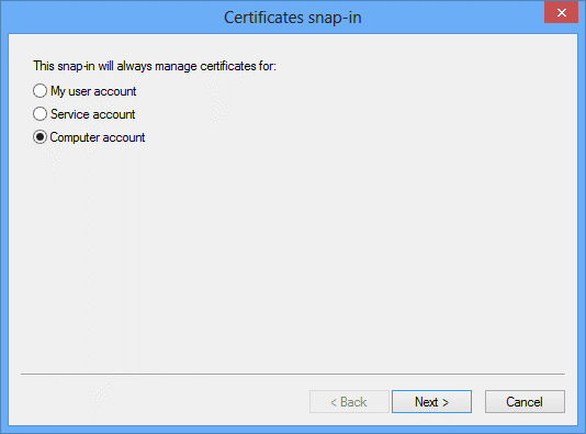 ERG Setup Step 2: Configure the Root Certificate