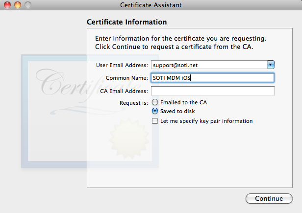 APNS Certificate Request for OS X