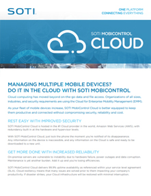 SOTI MobiControl Cloud brochure