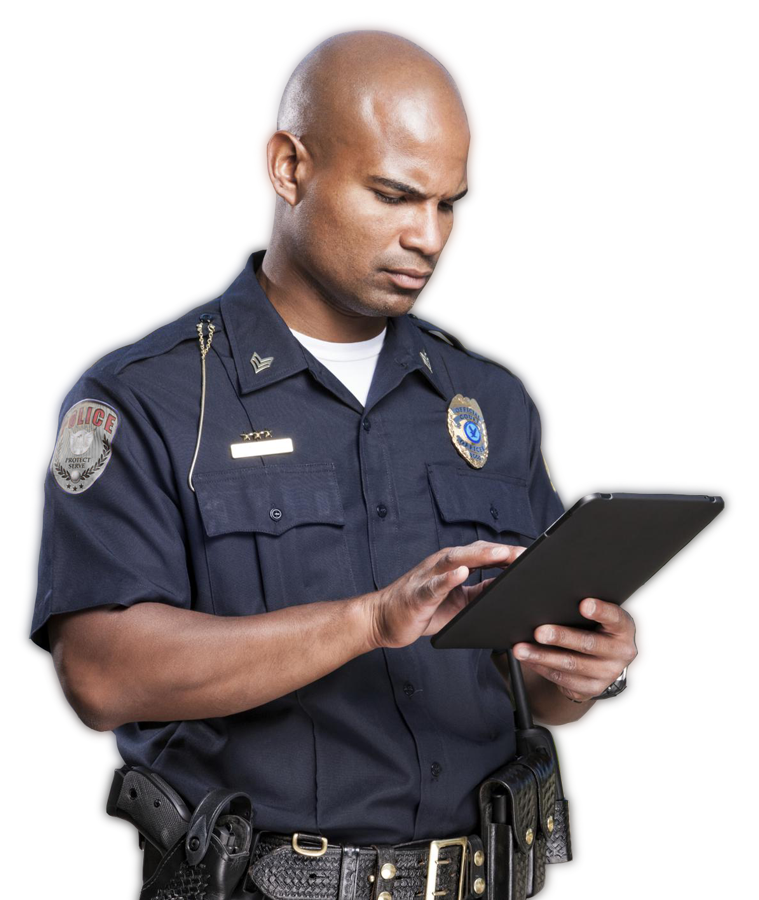 Police officer using a tablet