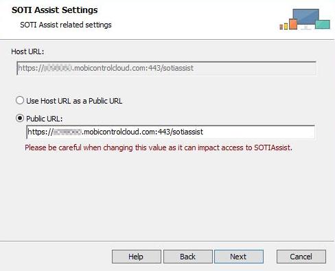 SOTIAssist installer host URL screen