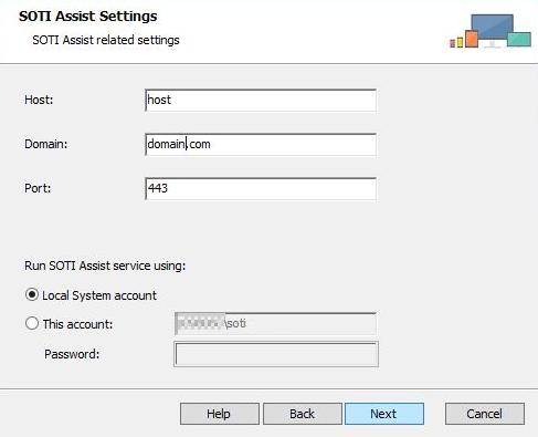 SOTIAssist installer network account screen